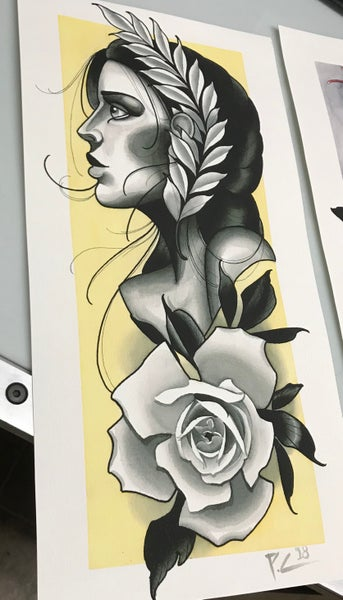 "Image of Girl and Rose 10""X20"""