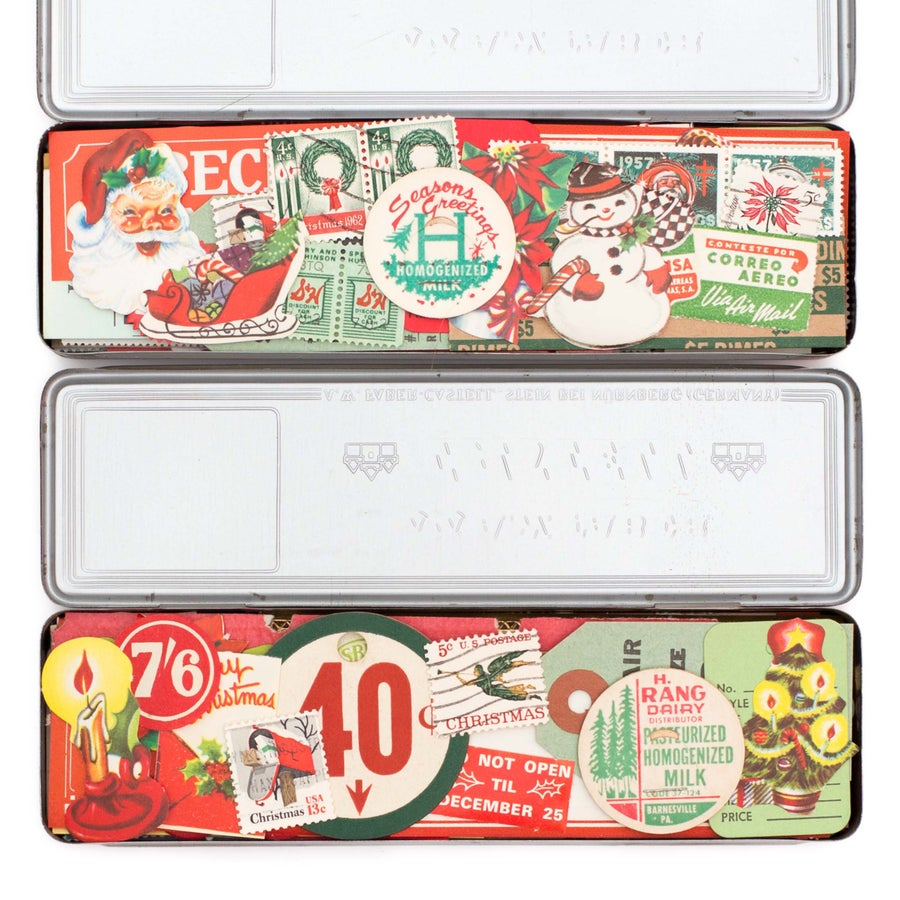 Image of Pencil Tin with Christmas Ephemera
