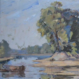 Image of Late 19th C, Oil Painting, 'The Eyot'