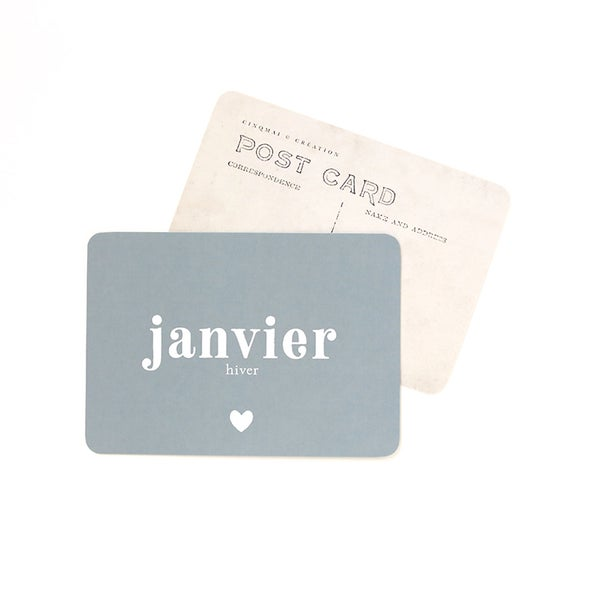 Image of Carte Postale JANVIER / BLEU STONE