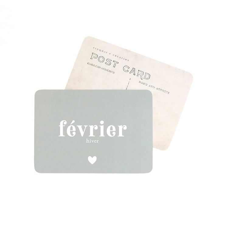 Image of Carte Postale FÉVRIER / BLEU LICHEN