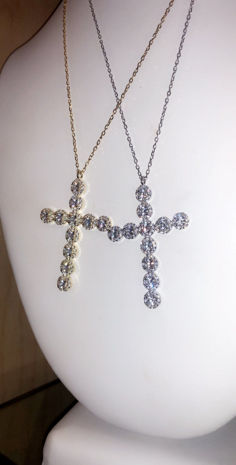 Image of Circle Diamond cross necklace