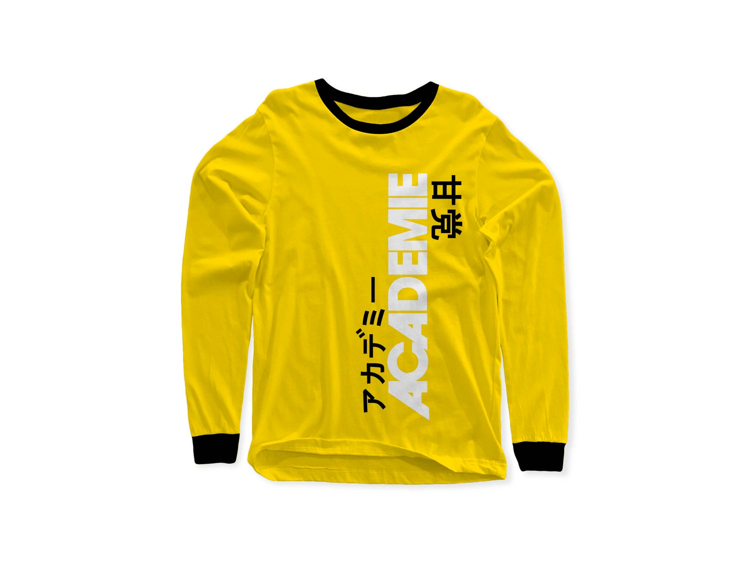 Image of ACADEMIE AMATO VERT LONG SLEEVE TEE YELLOW BLACK W/ WHITE