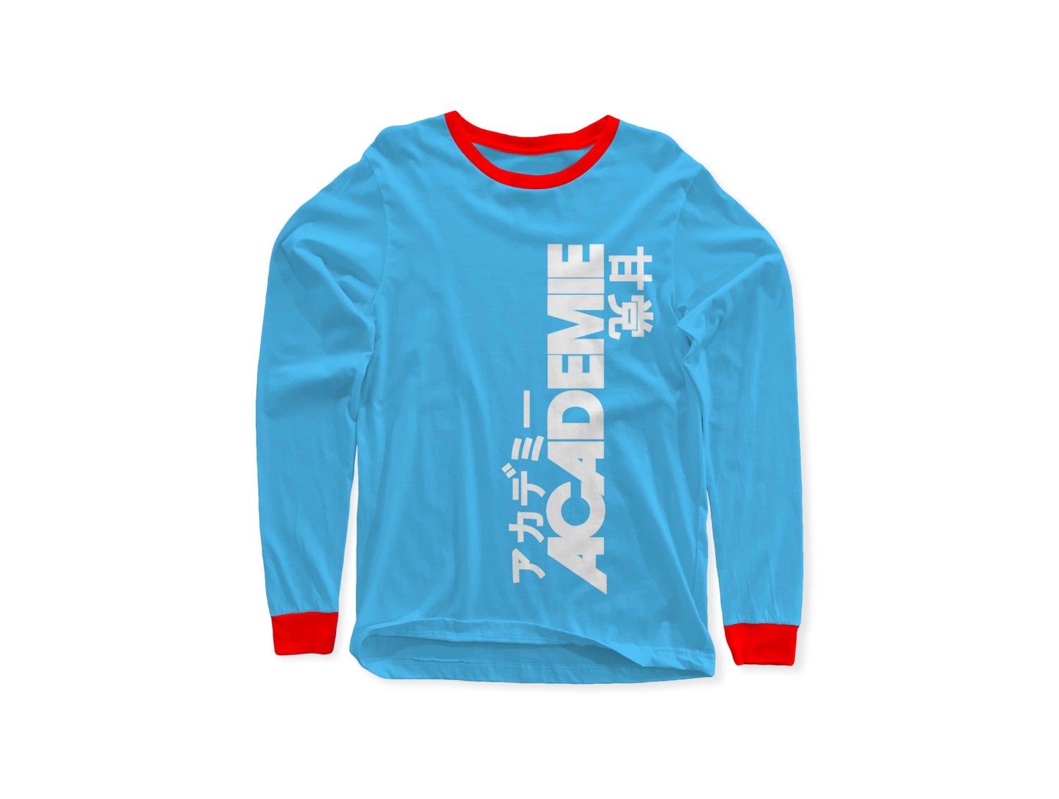Image of ACADEMIE AMATO VERT LONG SLEEVE TEE BABY BLUE RED W/ WHITE