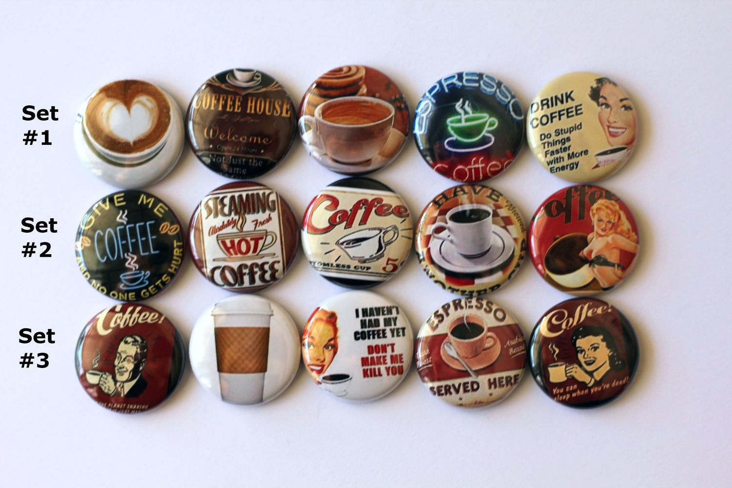 Image of Coffee themed Flair Buttons
