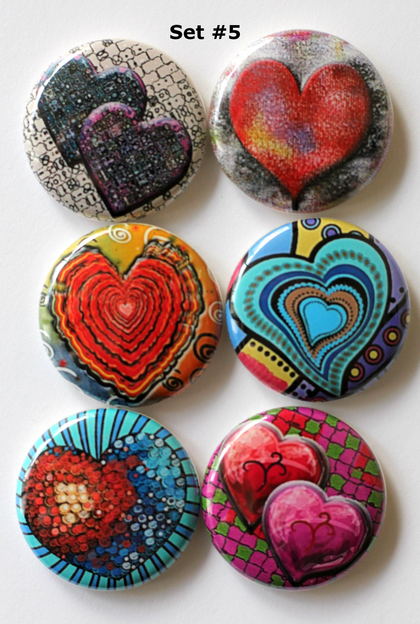 Image of Funky Heart Flair Buttons