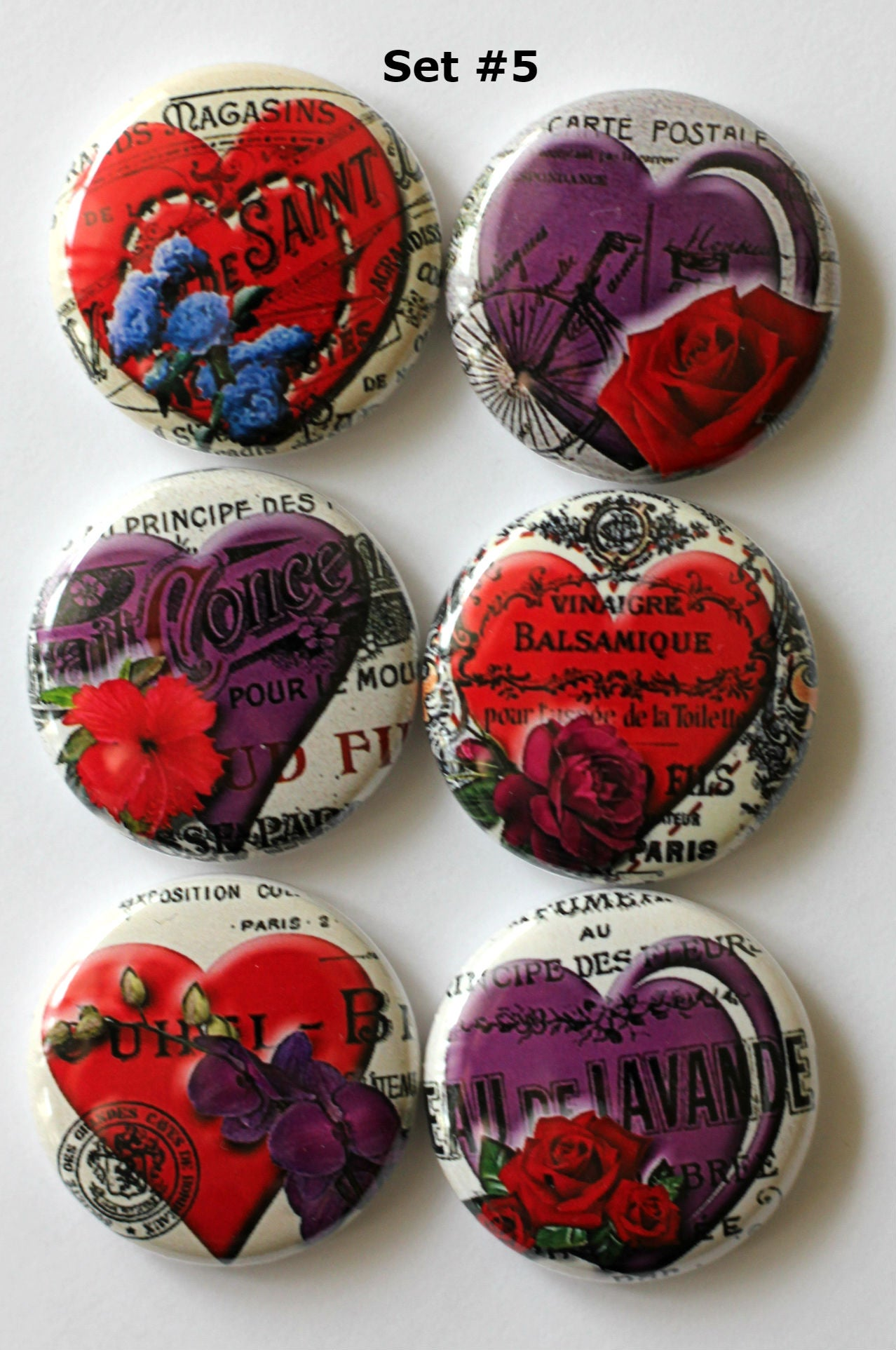 Image of Romantic Heart Flair Buttons