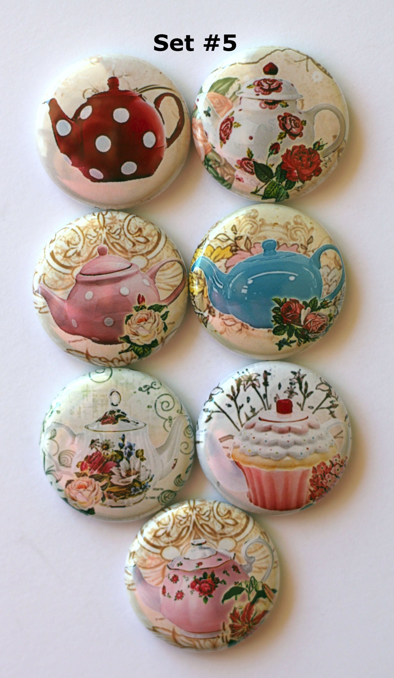 Image of Shabby Chic Teapot Flair Buttons