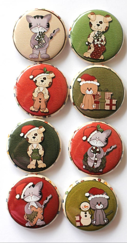 Image of Cats & Dogs Christmas Flair buttons