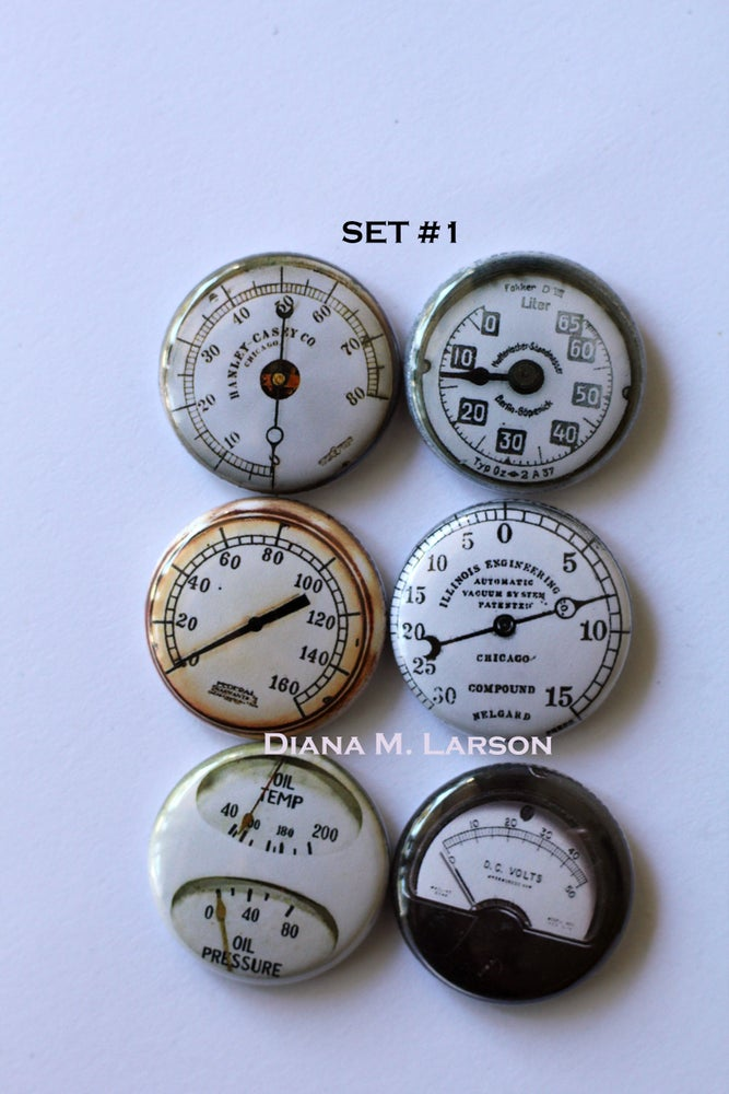 Image of Steampunk Gauge Flair Buttons