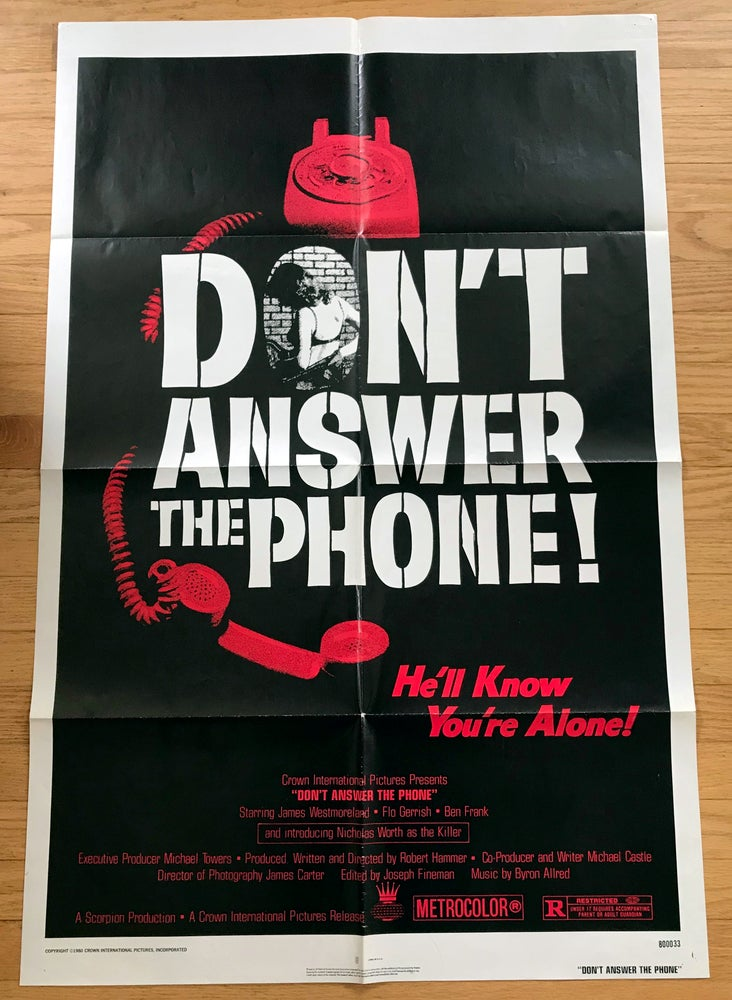 Image of 1980 DON'T ANSWER THE PHONE Original U.S. One Sheet Movie Poster