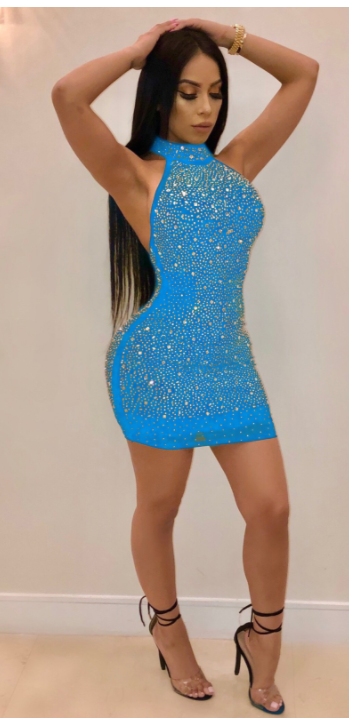 Image of Hot sexy lace sapphire blue red dress