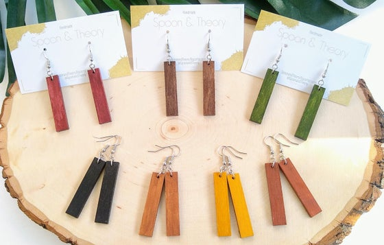 Image of Luna Minimalist Wood Earrings