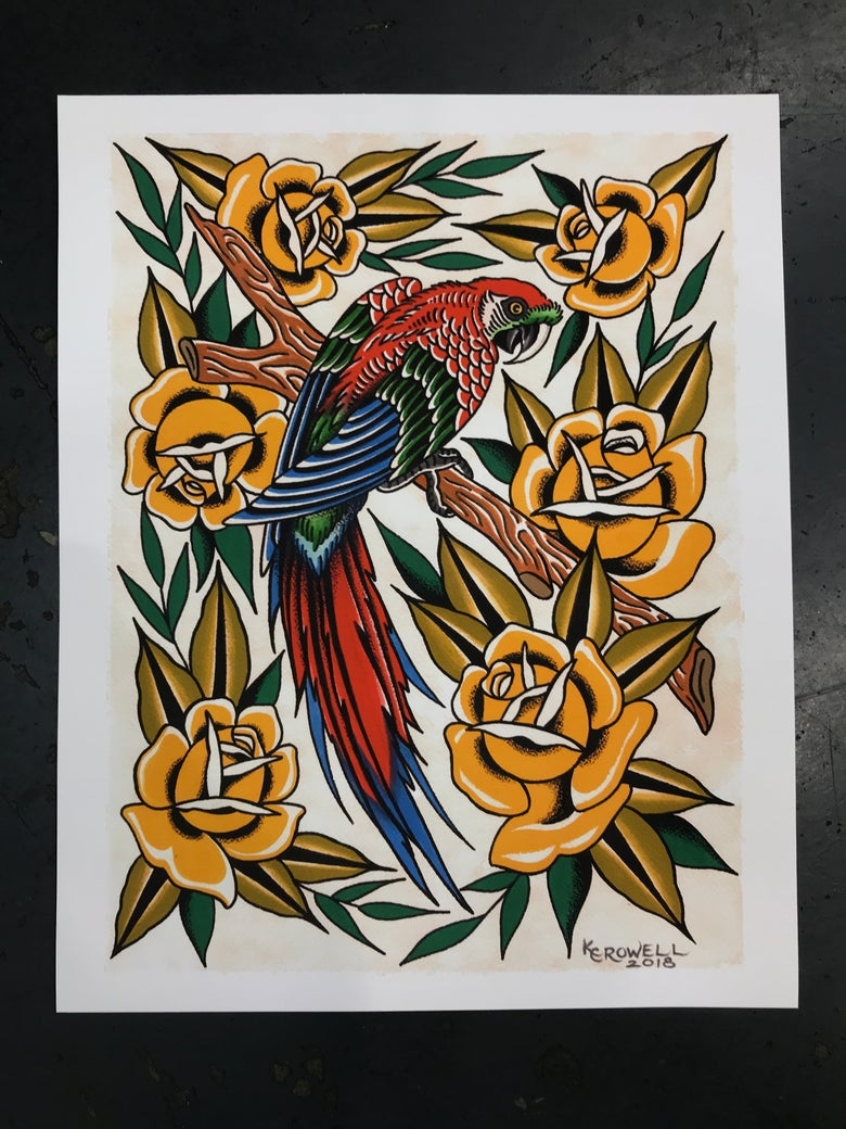 Image of Parrot giclee 16x20""