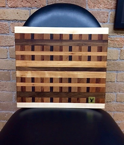 Image of Tad Mebane Signature Art • Black Walnut, Hard White Maple, Cherry, Mahogany Wood Chopping Block