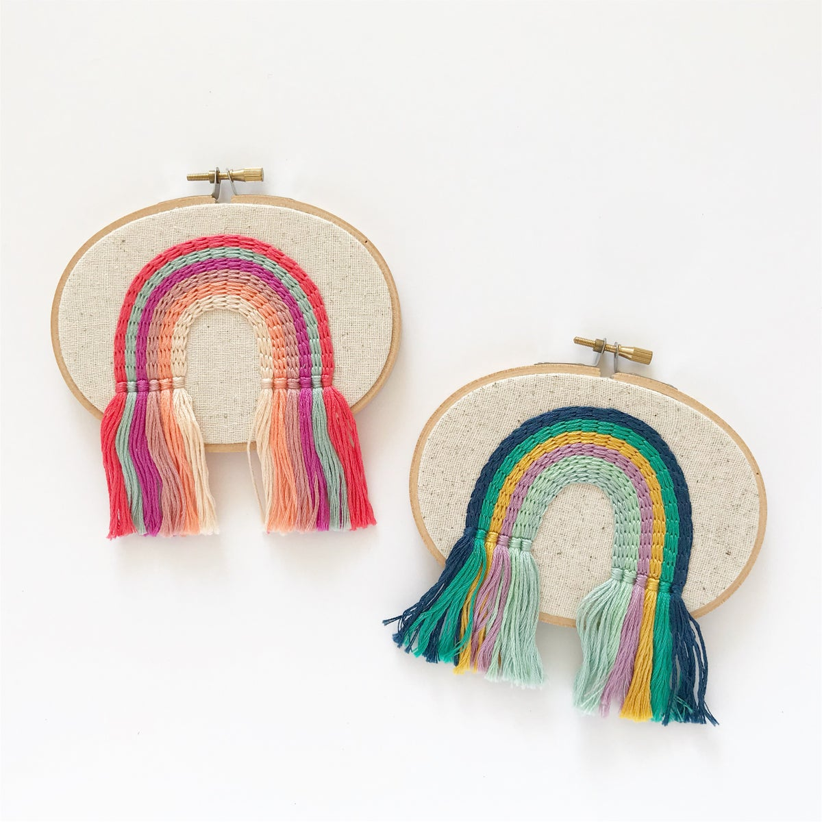 Hand Embroidered Rainbow Fringe Hoop