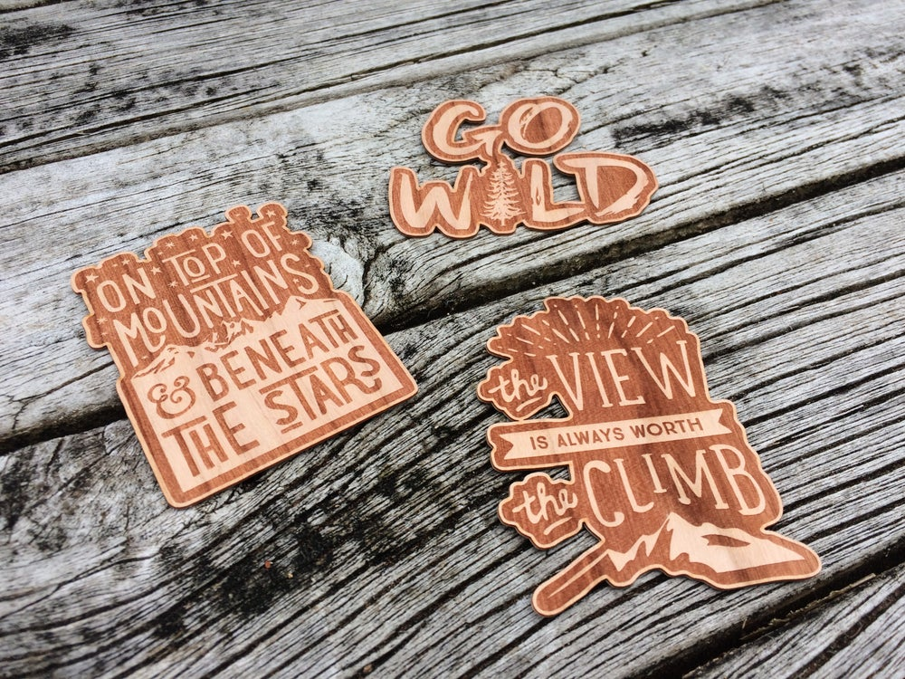 Image of GO WILD wooden sticker