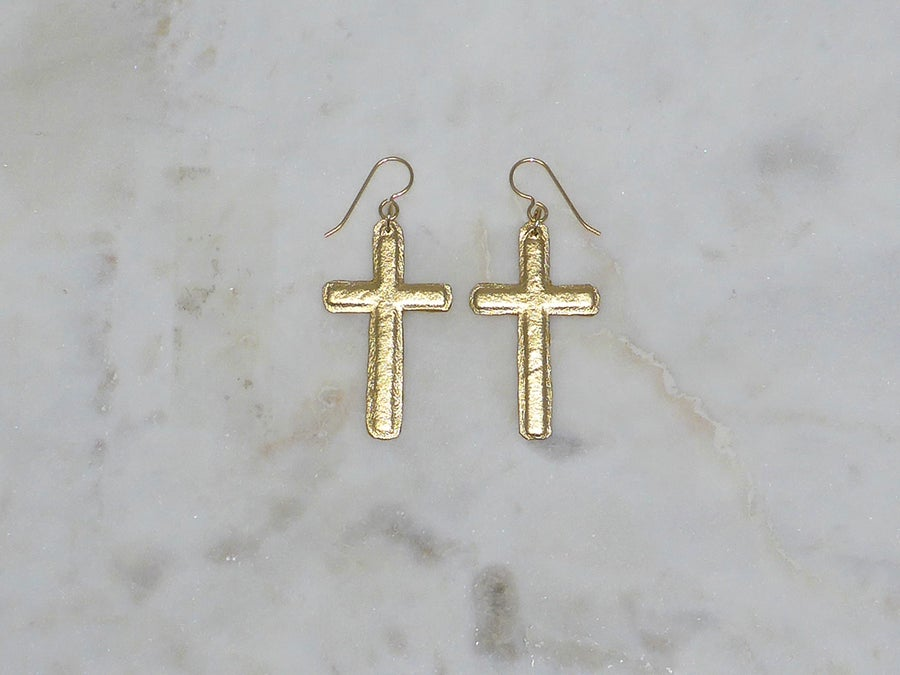 Image of Rebel Chic Sacred Heart Cross Earrings