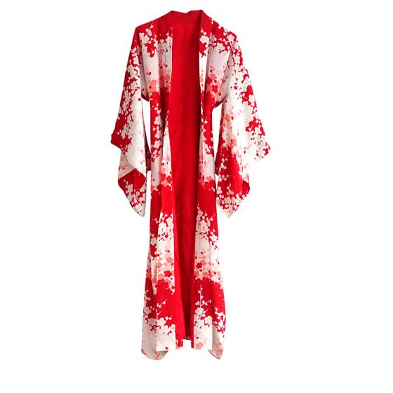Image of Silke kimono Rød-hvid med sakura kirsebærblomster