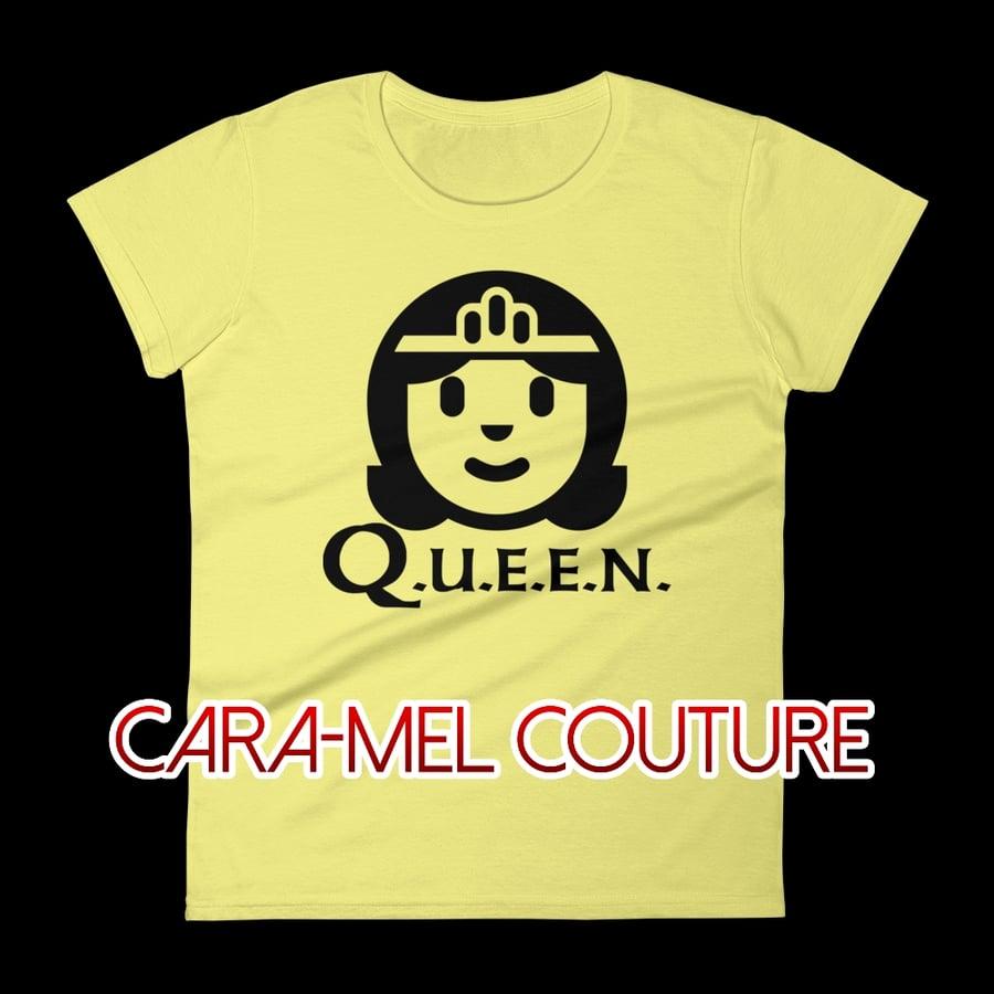 Image of Yellow Cartoon Q.U.E.E.N. T-Shirt
