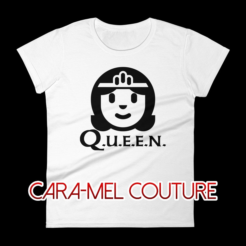 Image of Black-White Cartoon Q.U.E.E.N. T-Shirt