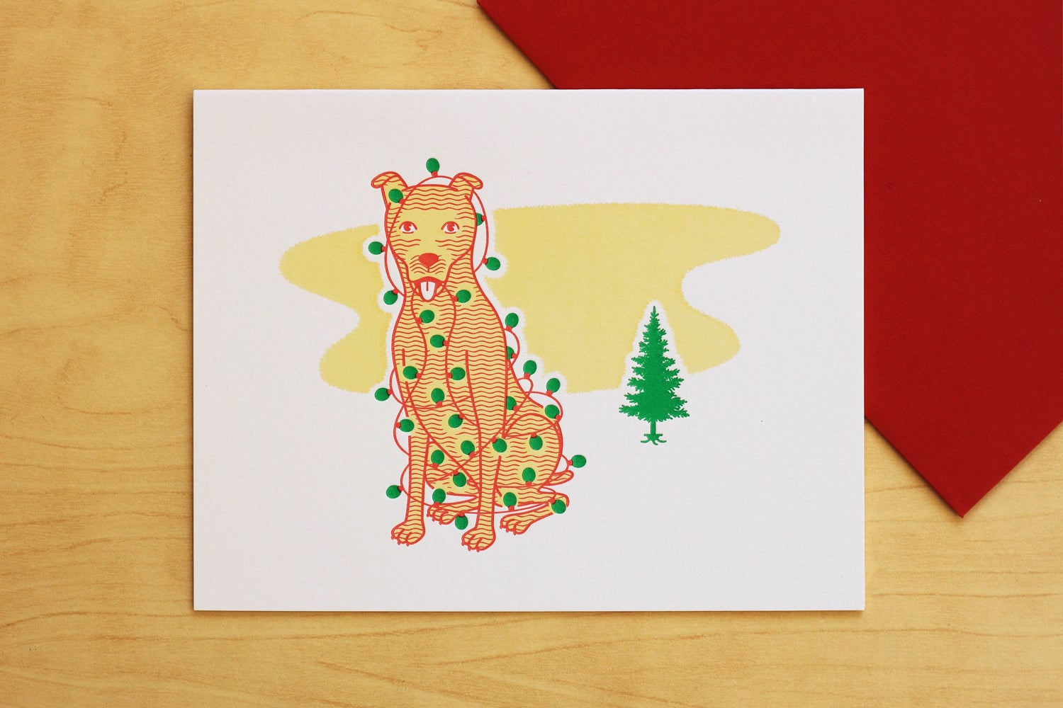 Image of Christmas Dog with Tree Lights Card