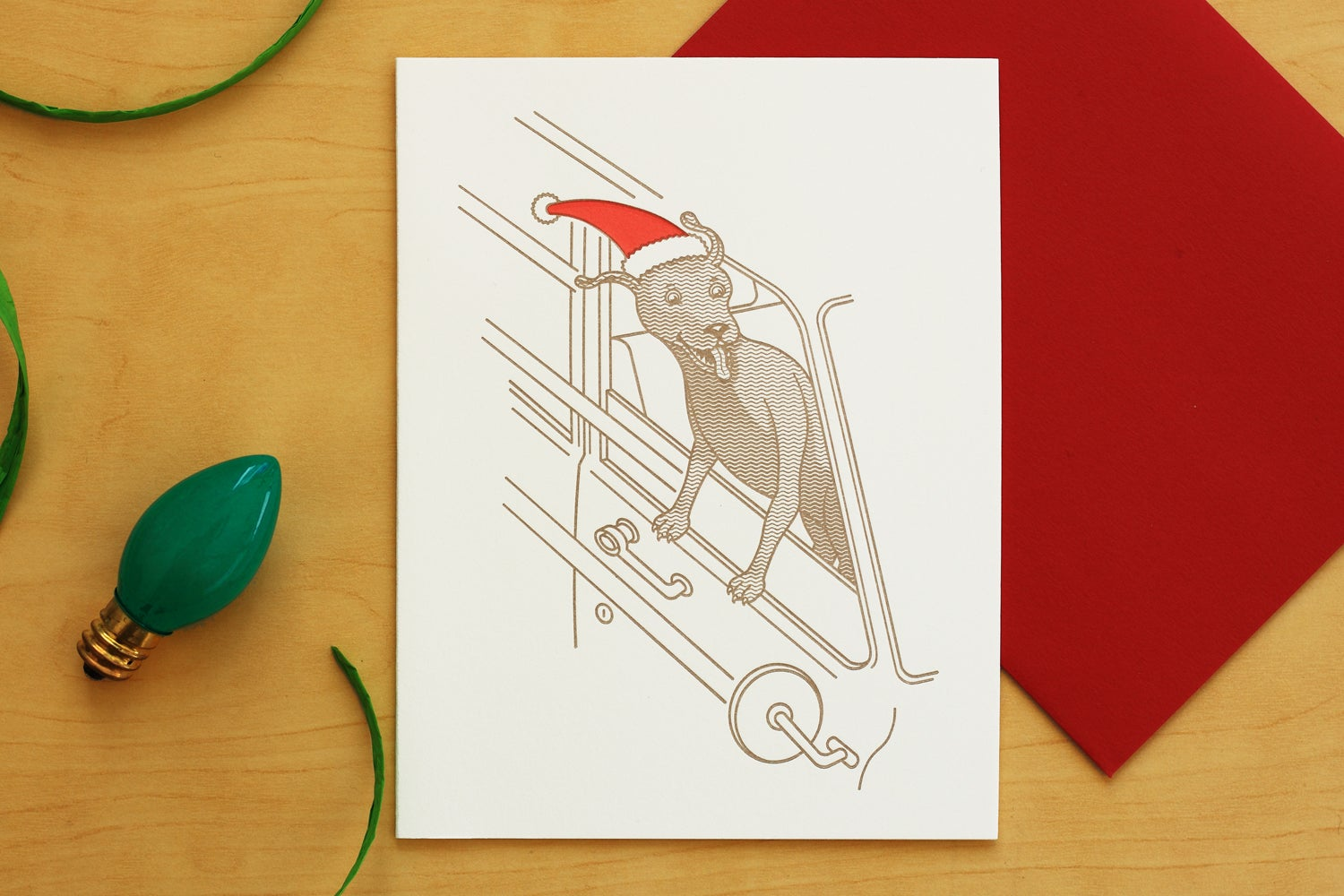 Image of Christmas Holiday Motoring Dog Card