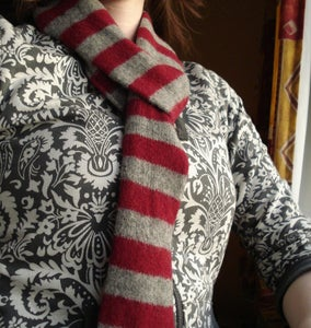 Image of Maroon and Grey Skinny Felted Scarf
