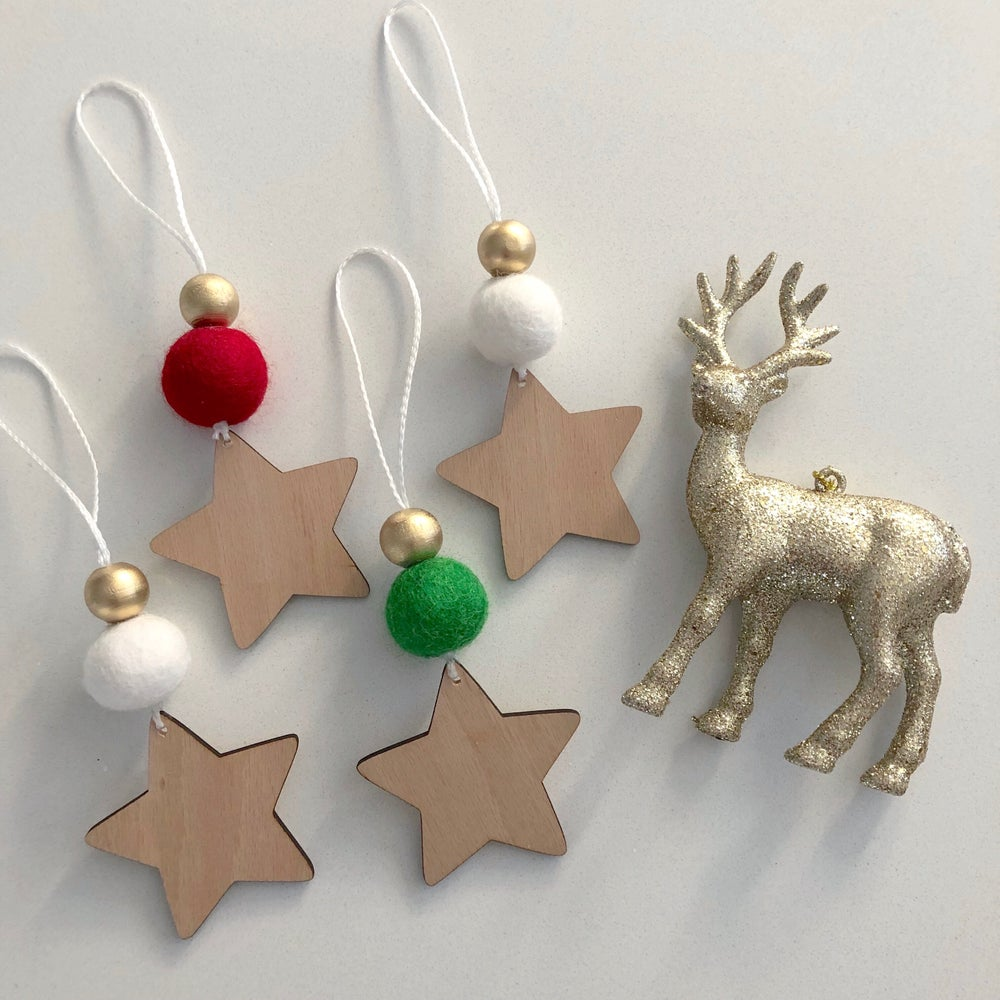 Image of 4 x Wooden Christmas ornaments