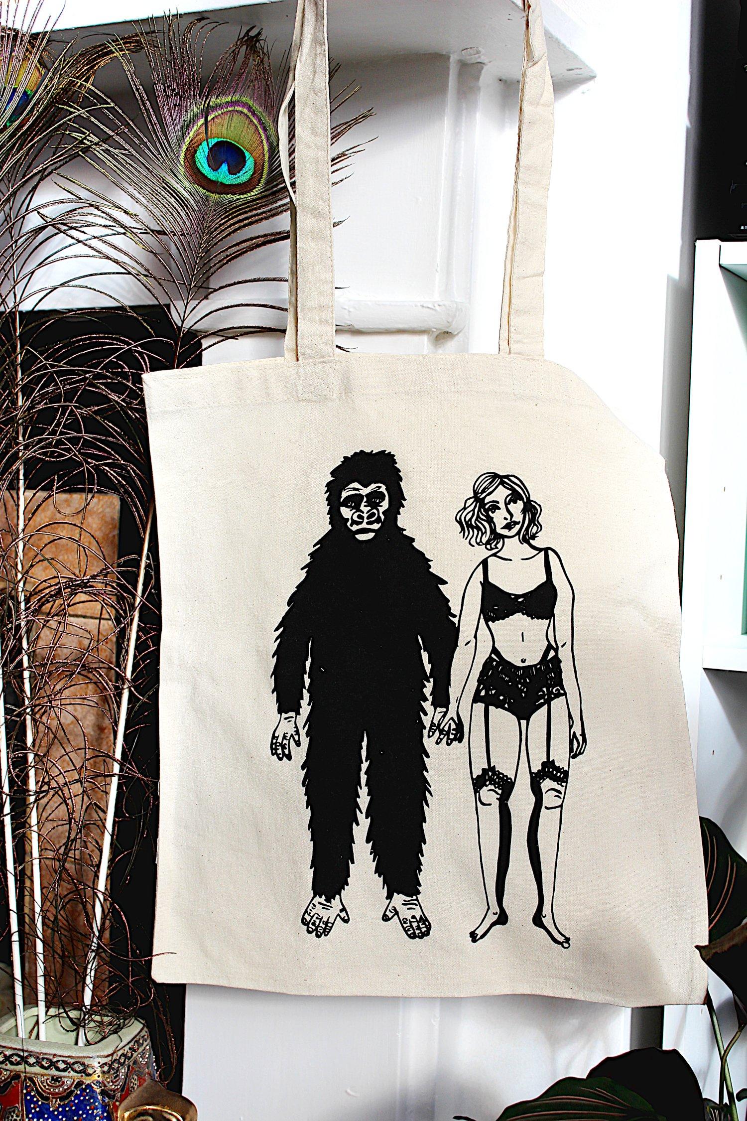 Image of Girl/Gorilla Tote Bag