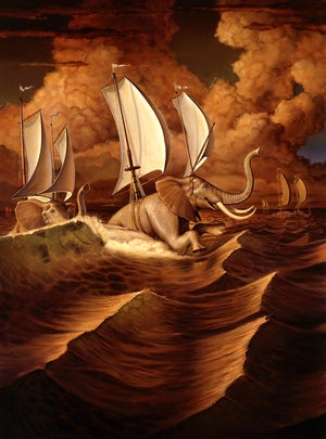 "Image of 'Elephants' canvas print 16"" X 20"""