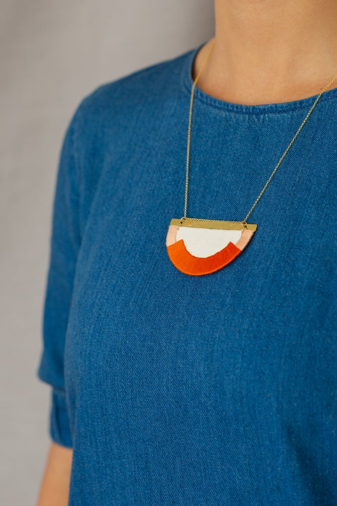Image of CRAVEN necklace in Burnt Orange and Blush