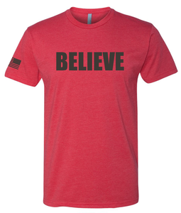 Image of BELIEVE - RED/BLACK Unisex Tee