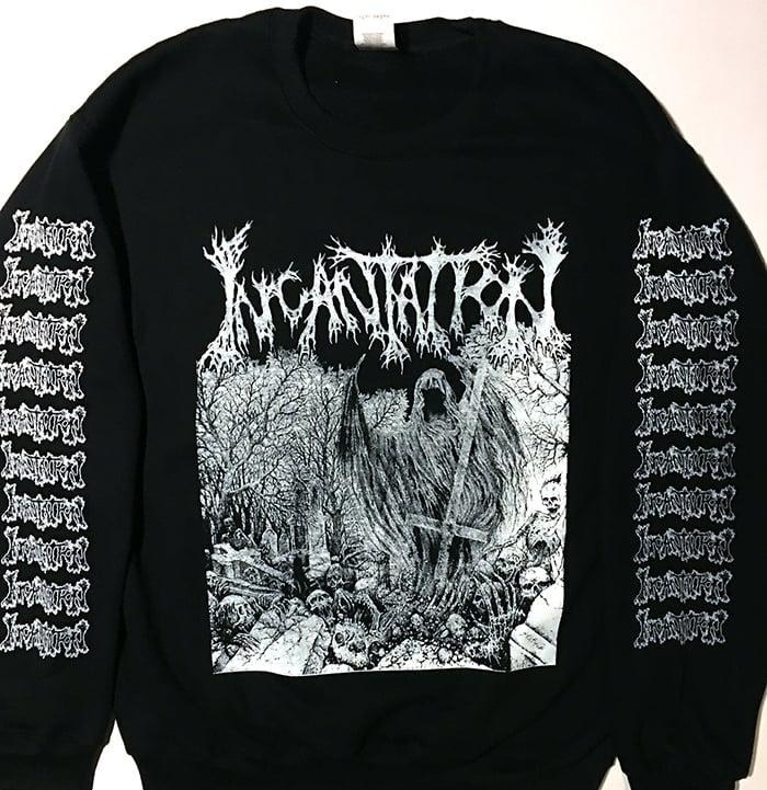 """Image of Incantation """" Rotting """" Sweatshirt with Sleeve Prints"""