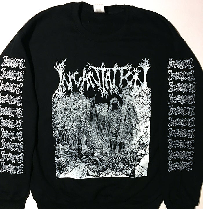 "Image of Incantation "" Rotting "" Sweatshirt with Sleeve Prints"