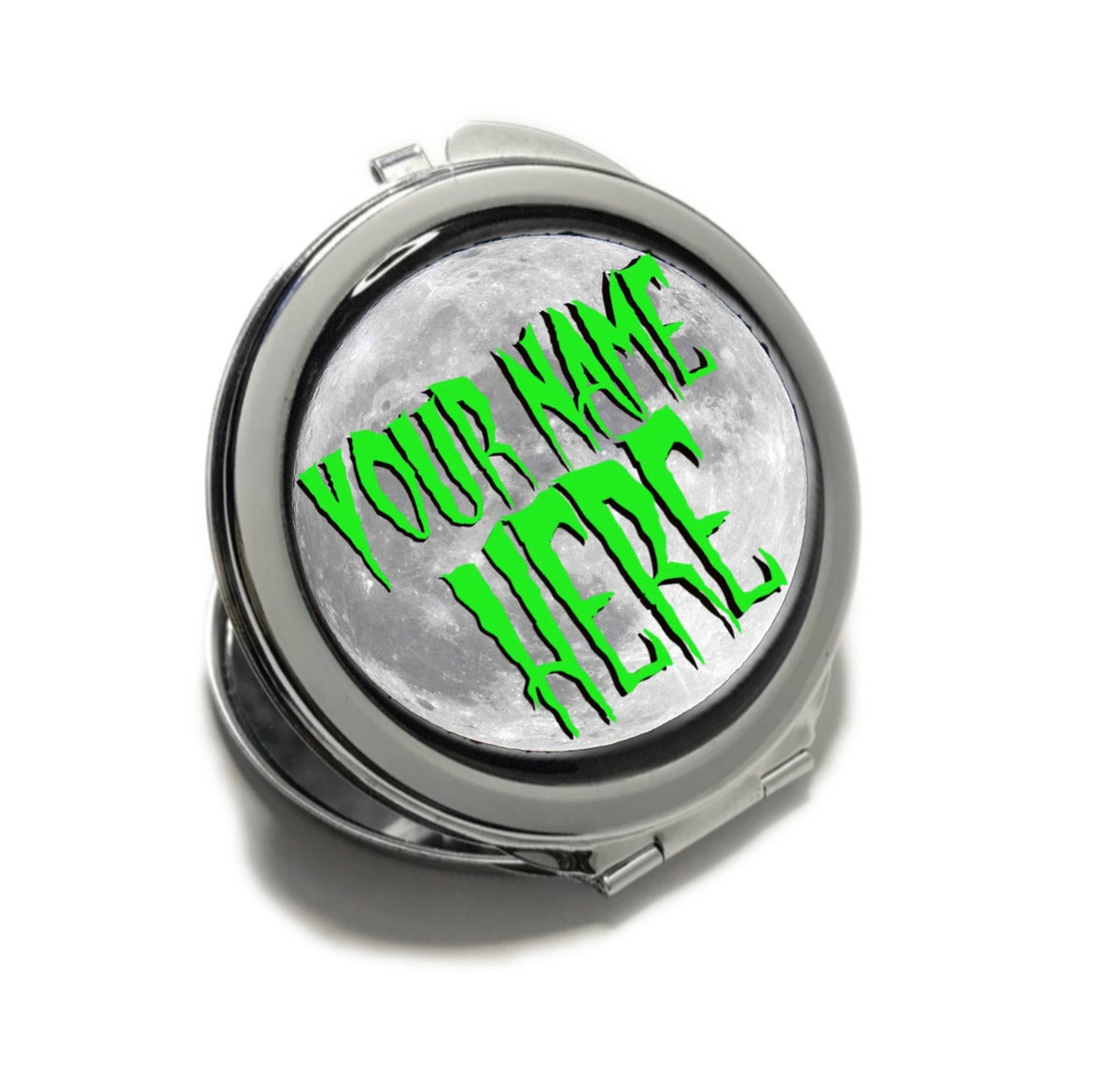 Image of Haunting Moon Custom Name Compact Mirror