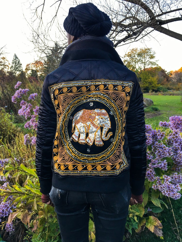 Image of •Tunse• All-Season Upcycled Jacket Collection - black multi bomber