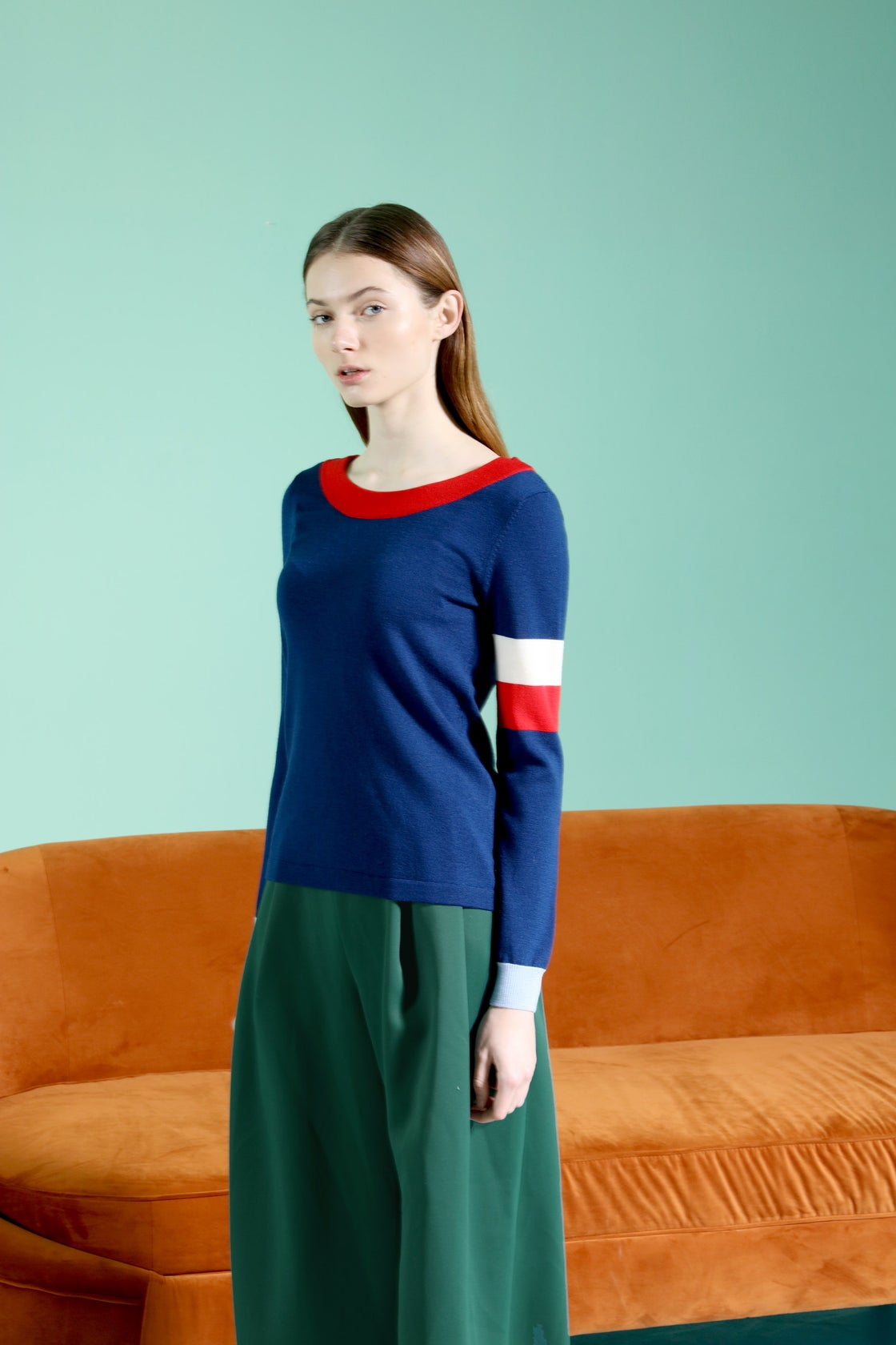 Image of Reversible V Neck colourblock button back wool cardigan _ Navy