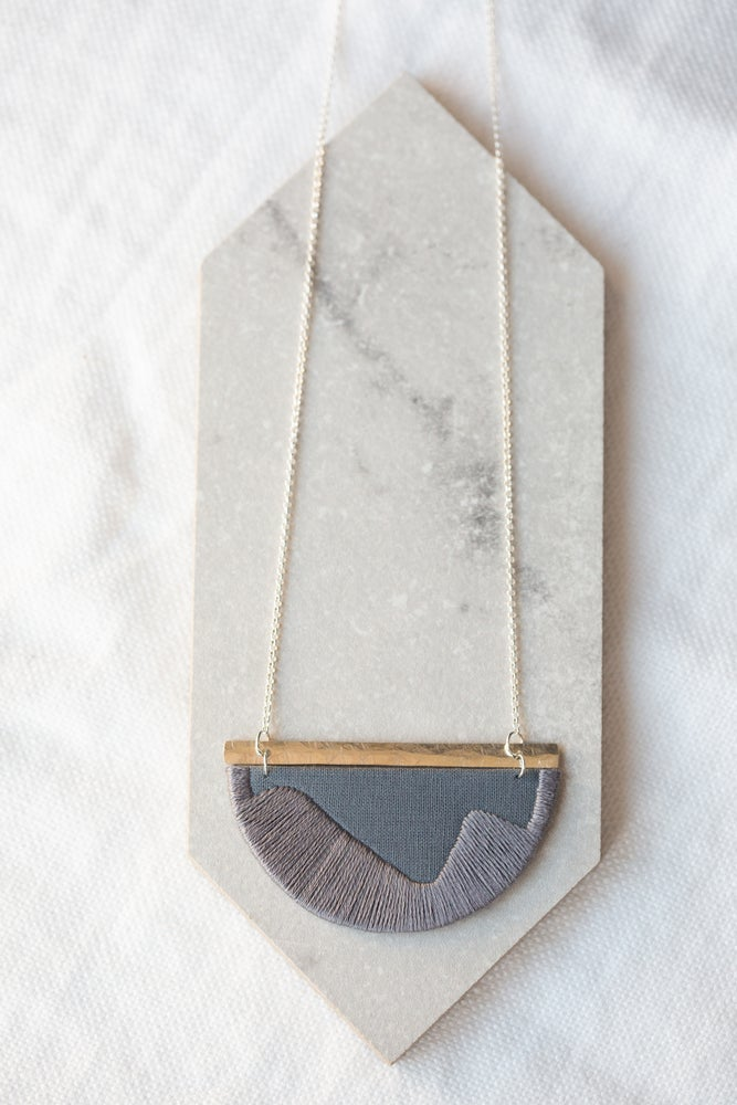 Image of FOLKE necklace Grey with Silver