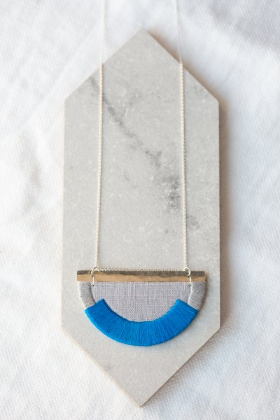 Image of CRAVEN necklace in Cobalt Blue and Soft Grey with Silver