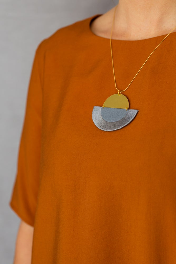 Image of LUNA semi-circle pendant in Grey