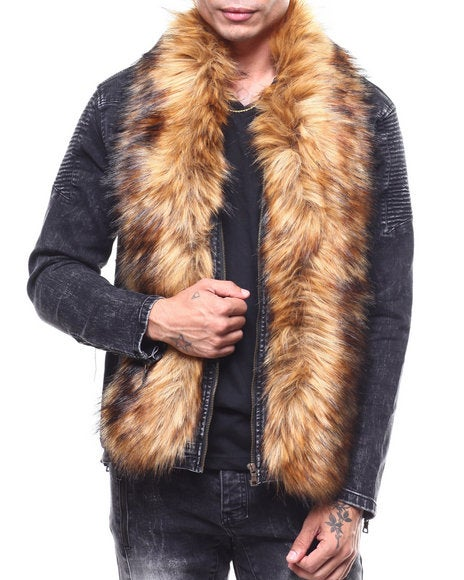 Image of Detachable Faux Fur Denim Zip Jacket by Buyers Picks