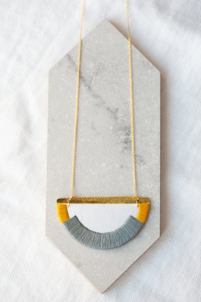 Image of CRAVEN necklace in Steel and Mustard