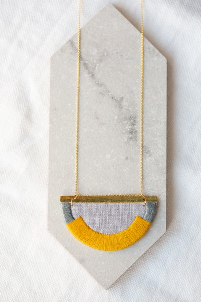 Image of CRAVEN necklace in Marigold and Grey