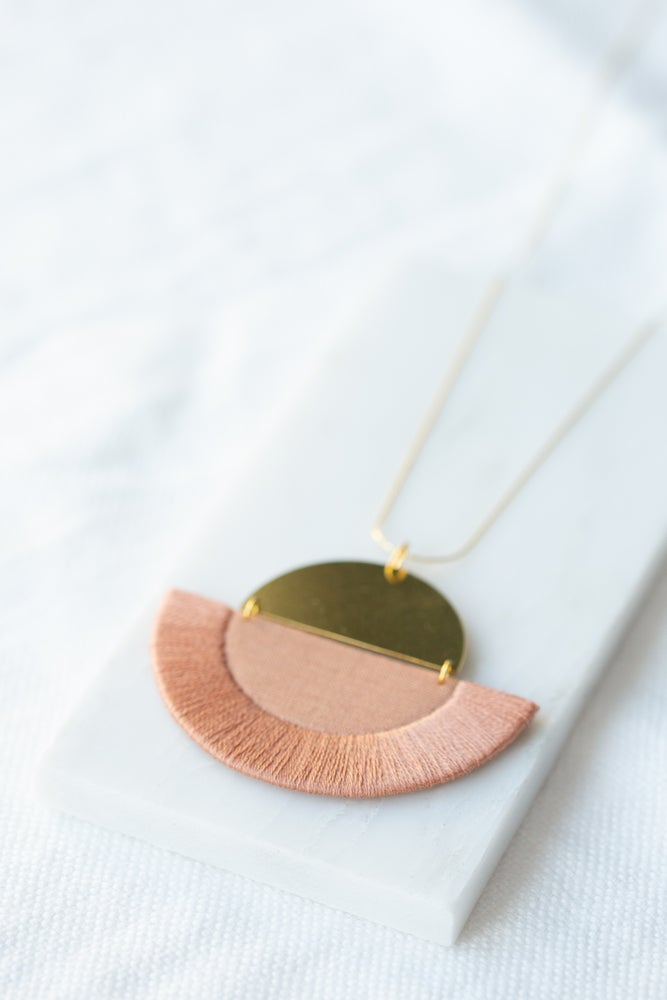 Image of LUNA semi-circle pendant in Rose