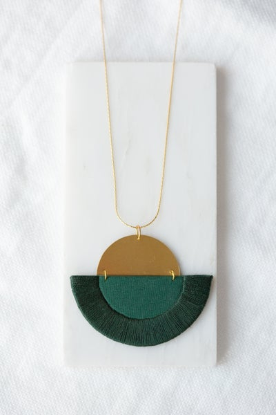 Image of LUNA semi-circle pendant in Forest