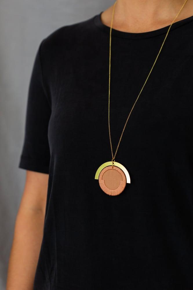 Image of LUNA circle pendant in Rose
