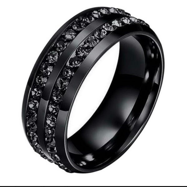 Image of Black cubic zirconia double row men's wedding band
