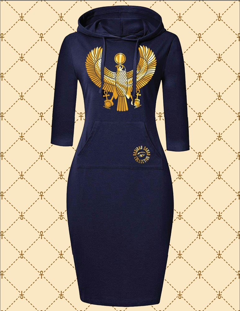 Image of NASIRAH SAHAR COLLECTION® GOLD HRU HOODIE DRESS