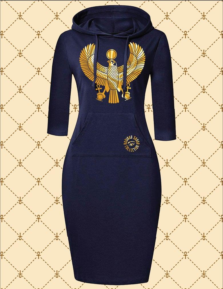 Image of NASIRAH SAHAR COLLECTION® GOLD HRU HOODIE DRESS